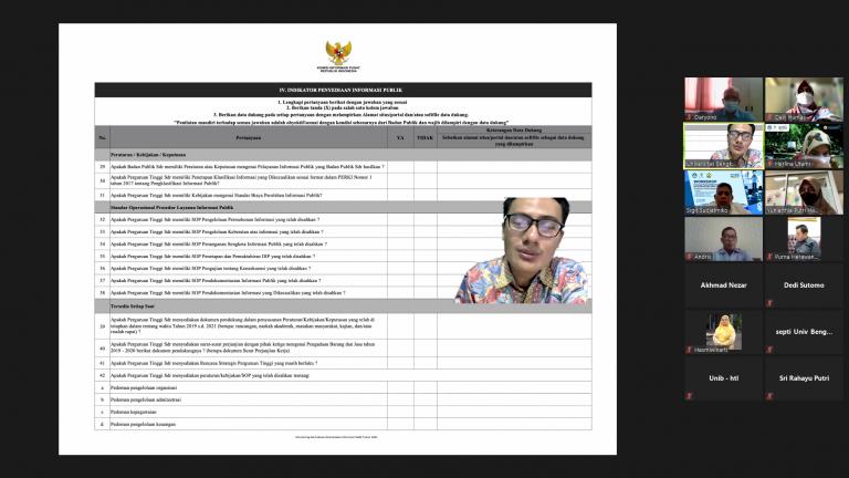 Rapat Koordinasi PPID Unib 2021